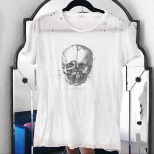 Brandy Melville distressed white graphic t skull